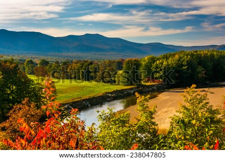 View of the Saco River in Conway, New Hampshire. - stock photo