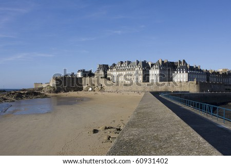 View of the Saint-Malo beach in Brittany - France - stock photo
