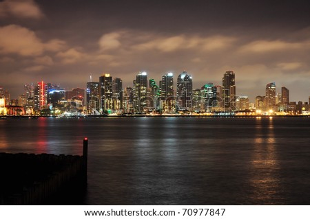 View of the San Diego skyline from Harbor Island. - stock photo