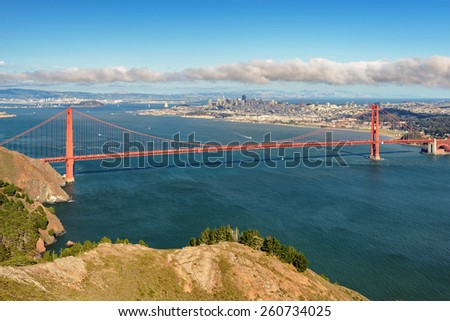 View of the San Francisco ang Golden Gate Bridge - stock photo