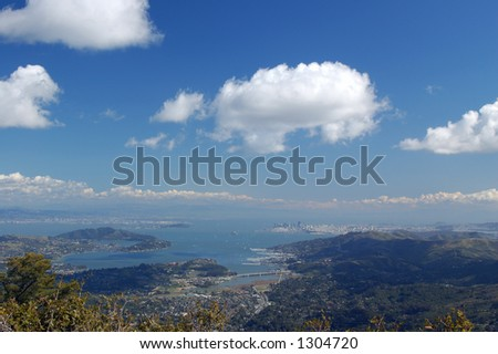 View of the San Francisco Bay Area from the East Summut of Mt. Tamaplais, California - stock photo