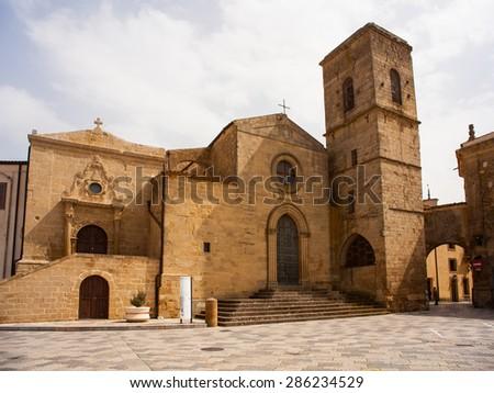 View of the San Leone Basilica of Assoro, Sicily. Italy - stock photo