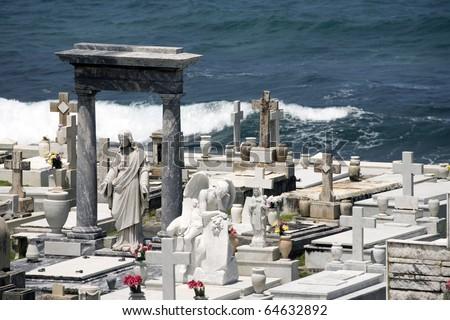 View of the Santa Maria Magdalena de Pazzis cemetery located in Old San Juan Puerto Rico. - stock photo