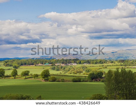 View of the scottish landscape from the top of the Falkirk Wheel boat lift, Falkirk, Scotland, UK - stock photo