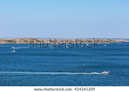 View of the sea archipelago on the Swedish west coast with boats - stock photo