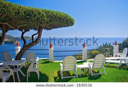 View of the sea from a room on Corfu island, Greece - stock photo