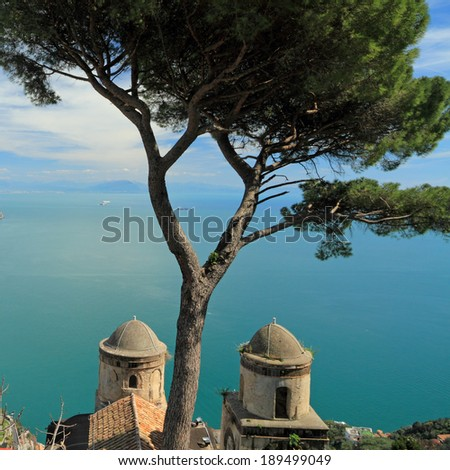 View of the sea from the Villa Rufolo in Ravello on Amalfi Coast  ( Costiera Amalfitana ), Italy , UNESCO world heritage site - stock photo