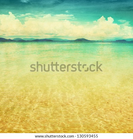 View of the sea in grunge and retro style. - stock photo