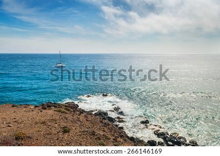 View of the seacoast. Santorini island, Greece. Beautiful summer landscape - stock photo