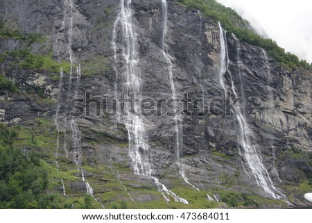 View of the Seven Sisters waterfall in Norway.