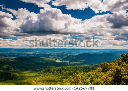 View of the Shenandoah Valley and Appalachian Mountains from the Mill Mountain Trail on Great North Mountain in George Washington National Forest, Virginia. - stock photo