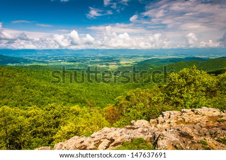 View of the Shenandoah Valley from Franklin Cliffs Overlook, in Shenandoah National Park, Virginia. - stock photo