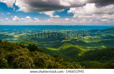 View of the Shenandoah Valley from Jewell Hollow Overlook in Shenandoah National Park, Virginia. - stock photo