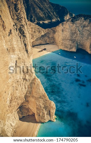 View of the shipwreck on the beach Navagio in Zakynthos, Greece - Vintage - stock photo