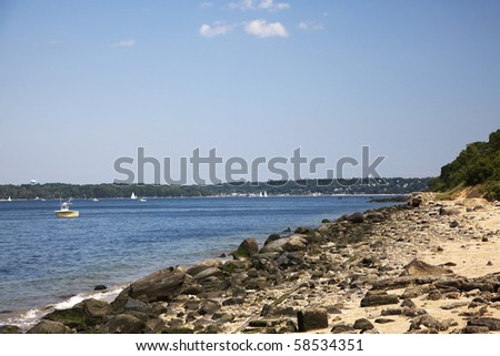 View of the shore at Sands Point Preserve. Long Island Sound, Long Island, New York - stock photo
