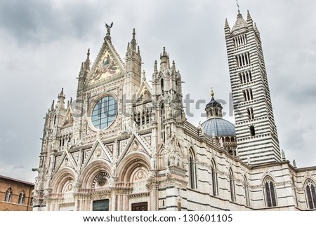 View of the Siena Duomo with vintage colors. Tuscany, Italy.