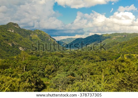 View of the Sierra of Escambray, Cienfuegos Province, Cuba - stock photo