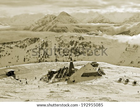View of the ski area Penken - Mayrhofen, Austria (stylized retro) - stock photo