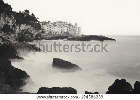 View of the small town of Tellaro in Liguria, Italy, at sunset - stock photo