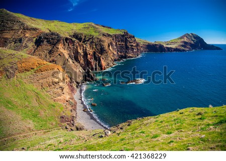 view of the small wild beach located at Ponta de Sao Lourenco, Madeira, Portugal