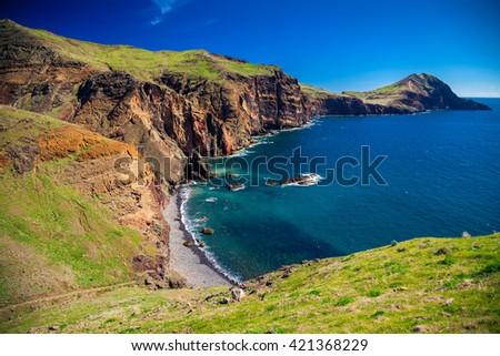 view of the small wild beach located at Ponta de Sao Lourenco, Madeira, Portugal - stock photo