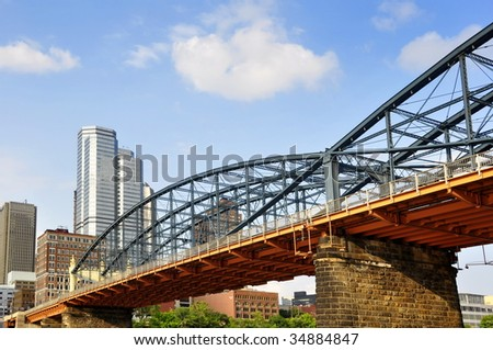 view of the Smithfield Street Bridge from the water of the Allegheny River - oldest bridge in the county - stock photo