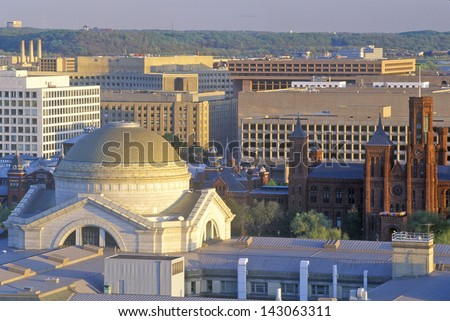 View of the Smithsonian Institute from the Old Post Office, Washington, DC - stock photo