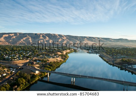 view of the snake river in idaho and route 12 from a hot air balloon