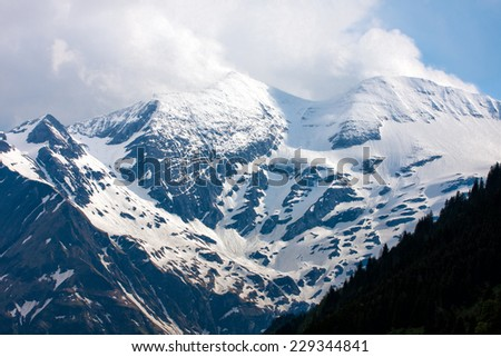 view of the snowy Alps, Austria  - stock photo