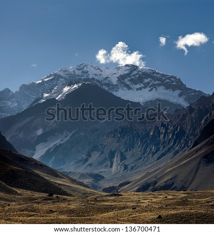 View of the South face of Aconcagua pick from the entrance of the park. Aconcagua Provincial Park, Mendoza, Argentina, South America. - stock photo