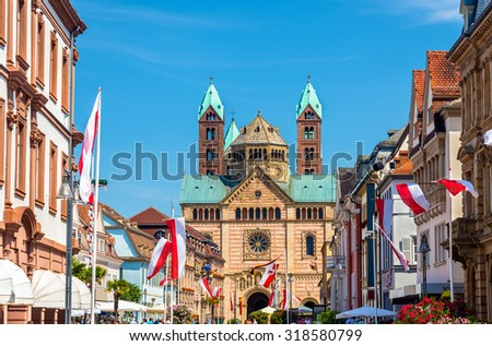 View of the Speyer Cathedral from the Maximilian Street - Germany - stock photo