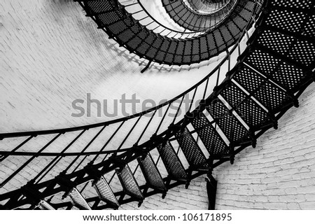 View of the spiral starircase inside the St. Augustine Lighthouse - stock photo