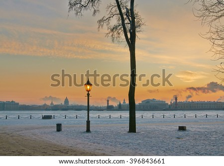 View of the spit of Vasilevsky Island, St. Isaac's Cathedral and admiralty in the frosty evening
