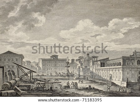 View of the square of San Giovanni di Malta church, Messina, Italy. By Desprez and Berthault, publ. on Voyage Pittoresque de Naples et de Sicilie,  J. C. R. de Saint Non, Imp. de Clousier, Paris, 1786 - stock photo