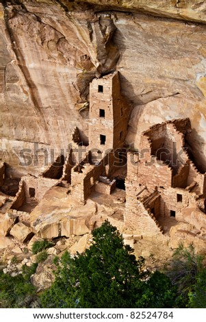 View of the Square Tower House ruin in Mesa Verde National Park, Colorado, USA - stock photo