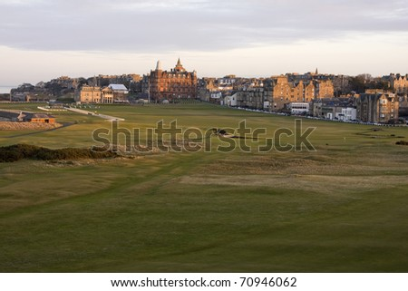 View of the 1st and 18th holes on the Old Course at St Andrews - stock photo