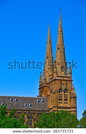 View of the St Mary's Cathedral in Sydney, Australia - stock photo
