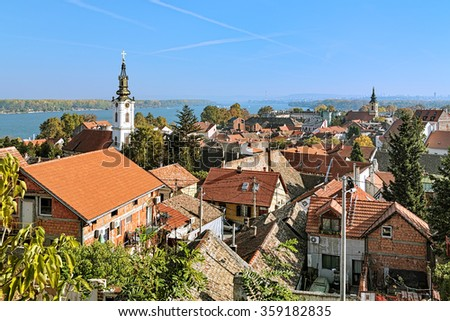 View of the St. Nicholas Church, Danube river and Belgrade from the Gardos hill in Zemun, Serbia - stock photo