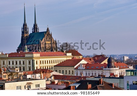 View of the St, Peter and Paul, Petrov, Cathedral in Brno, Czech Republic. - stock photo