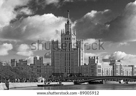 View of the Stalin skyscraper in Moscow in black and white version - stock photo