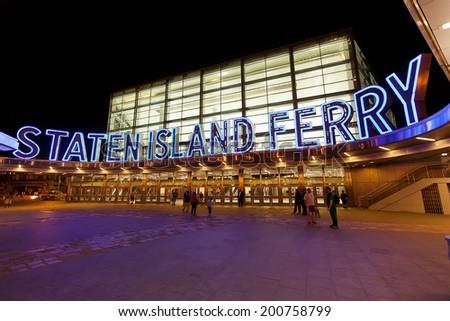 View of the Staten Island Ferry Terminal building, Manhattan, New York - stock photo