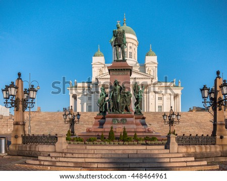 View of the Statue of Alexander II in Helsinki and Helsinki Cathedral in the sunshine, located in the center of Helsinki city in Finland.