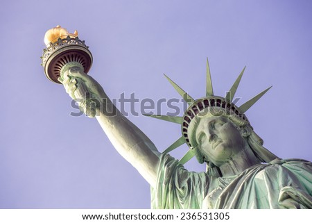 View of the Statue of Liberty in New York, USA. (vintage photo) - stock photo