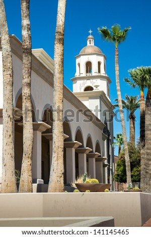 View of the steeple and colonnade of the cathedral of St. Augustine in Tucson, AZ - stock photo