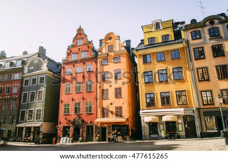 View of the Stortorget area in Gamla stan with bright colored old buildings
