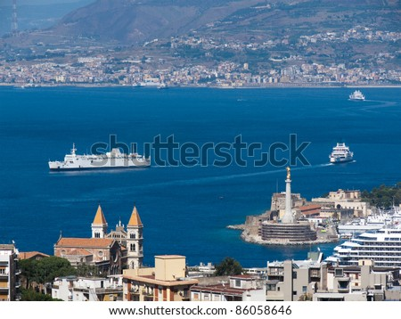 view of the strait and Messina's port, Calabria coastline in the background - Italy - stock photo