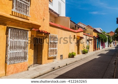 View of the street in center of Cartagena, Colombia. - stock photo