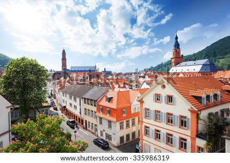 View of the street in Heidelberg, Germany - stock photo
