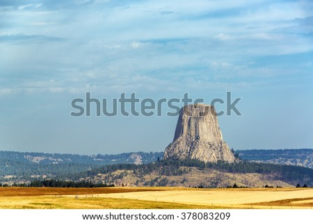 View of the stunning Devils Tower National Monument in Wyoming