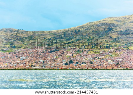 View of the suburb Puno - Lake Titicaca, Peru, South America - stock photo